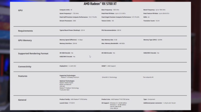 Radeon RX 5700 XT   specifications ryzen 5 2600x